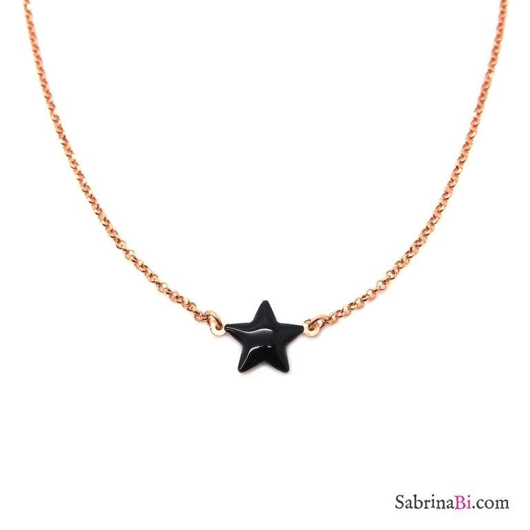 Collana girocollo/ choker/ strozzacollo argento 925 oro rosa Stella nera