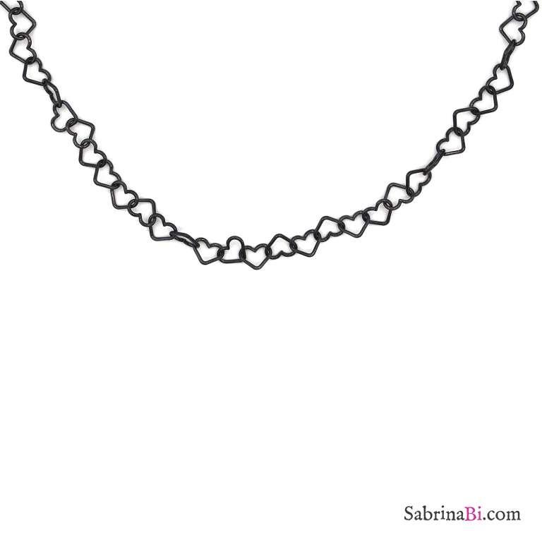 Collana girocollo con maglia a cuore grande argento 925 rodiato nero