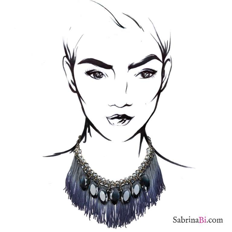 Statement bib Swarovsky navette crystals and silk fringe necklace