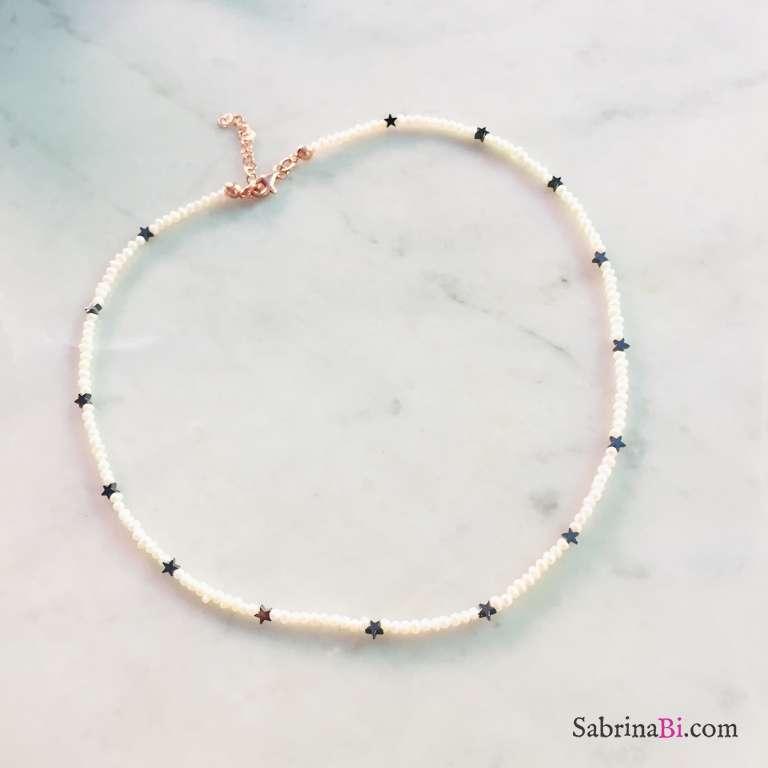 Collana girocollo perle di fiume e stelline Ematite