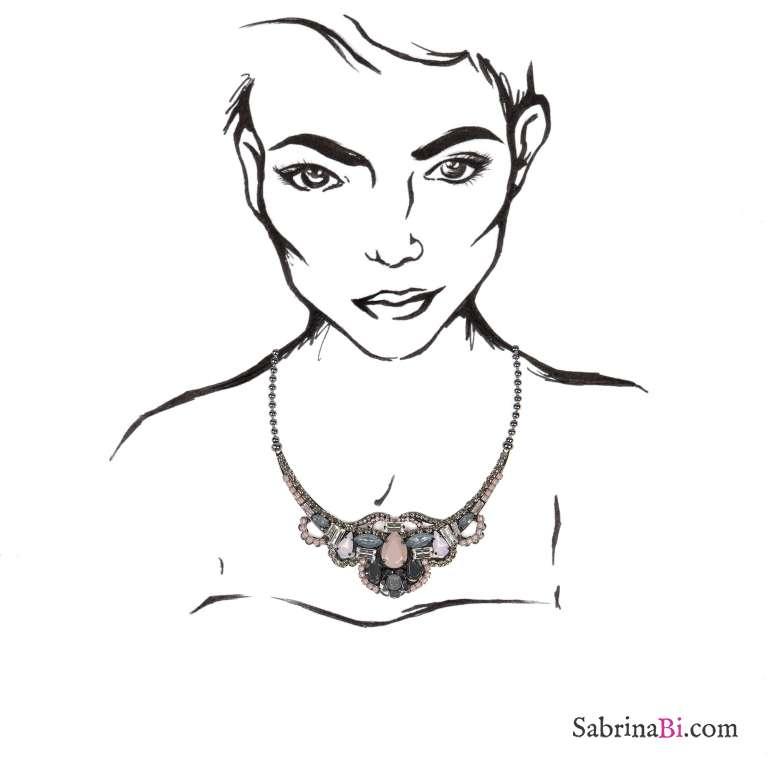 Collana girocollo romantica cristalli rosa antico e grigio