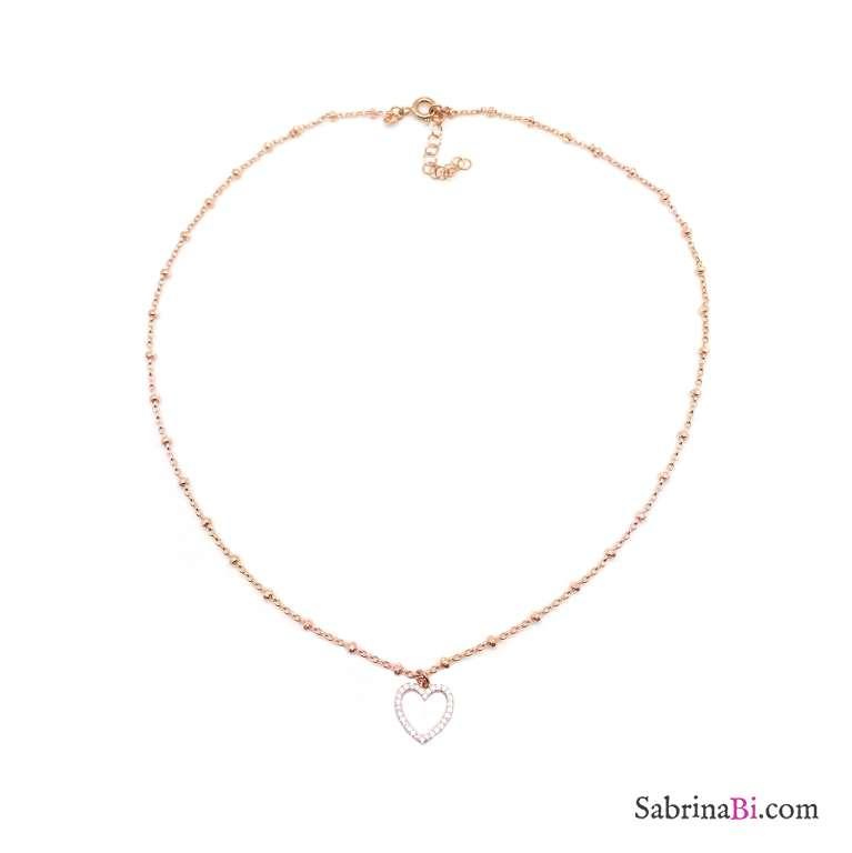Collana girocollo rosario argento 925 oro rosa Cuore vuoto Zirconi