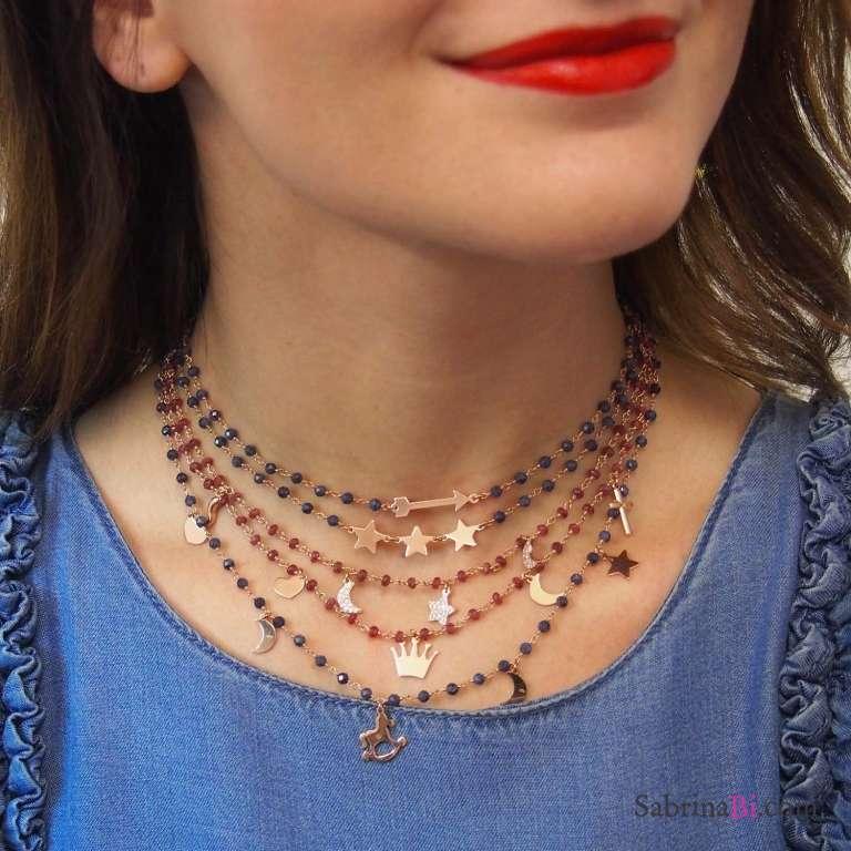 Collana girocollo rosario argento 925 oro rosa Granato rosso e 5 charms