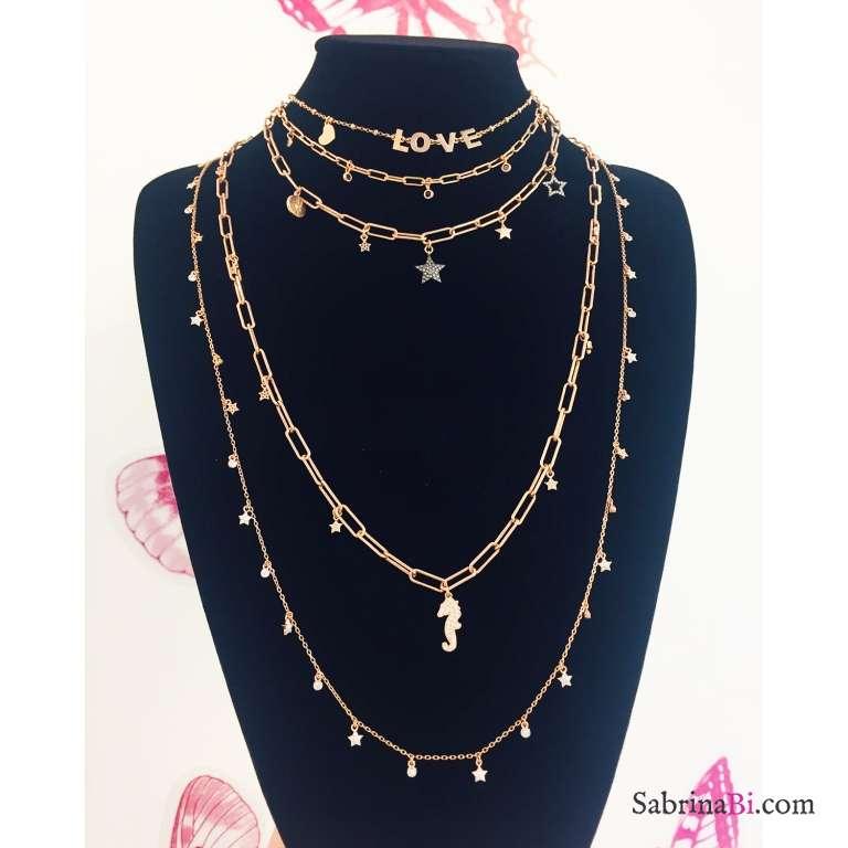 Collana girocollo rosario argento 925 oro rosa LOVE