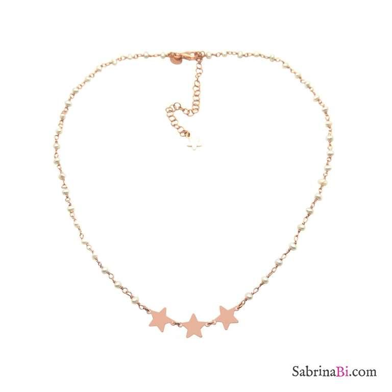Collana girocollo rosario argento 925 oro rosa perle bianche e 3 stelle