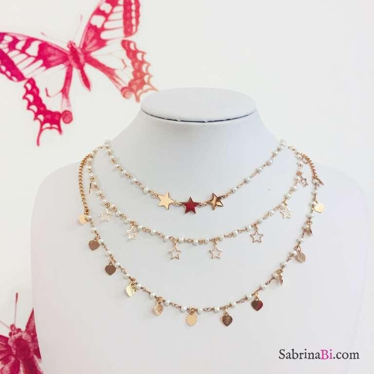 Collana girocollo rosario argento 925 oro rosa perle bianche e stelline vuote