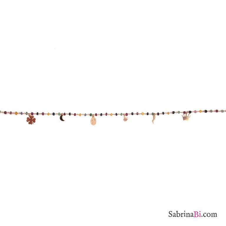 Collana girocollo rosario argento 925 oro rosa pietre dure multicolor e 6 charms