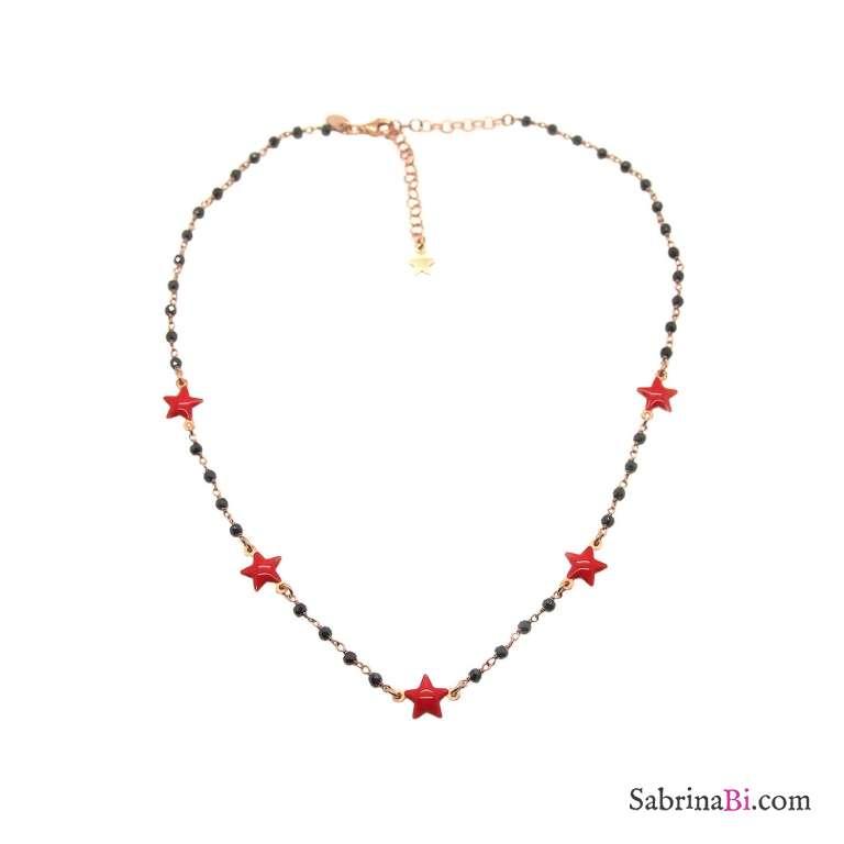 Collana girocollo rosario argento 925 oro rosa Spinelli neri e 5 stelle rosse