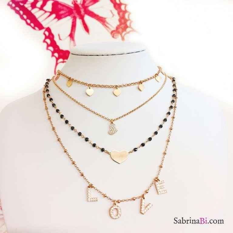 Collana girocollo/ strozzacollo/ choker argento 925 oro rosa micro cuori