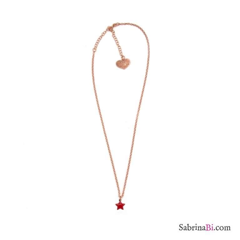 Collana girocollo/strozzacollo/choker argento 925 oro rosa mini stella rossa