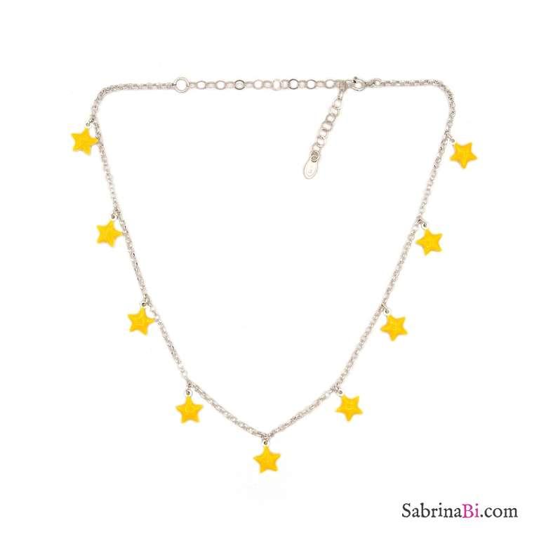 Collana girocollo/strozzacollo/choker argento 925 oro rosa mini stelle gialle