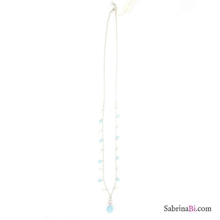 Collana lunga argentata perle bianche e azzurre