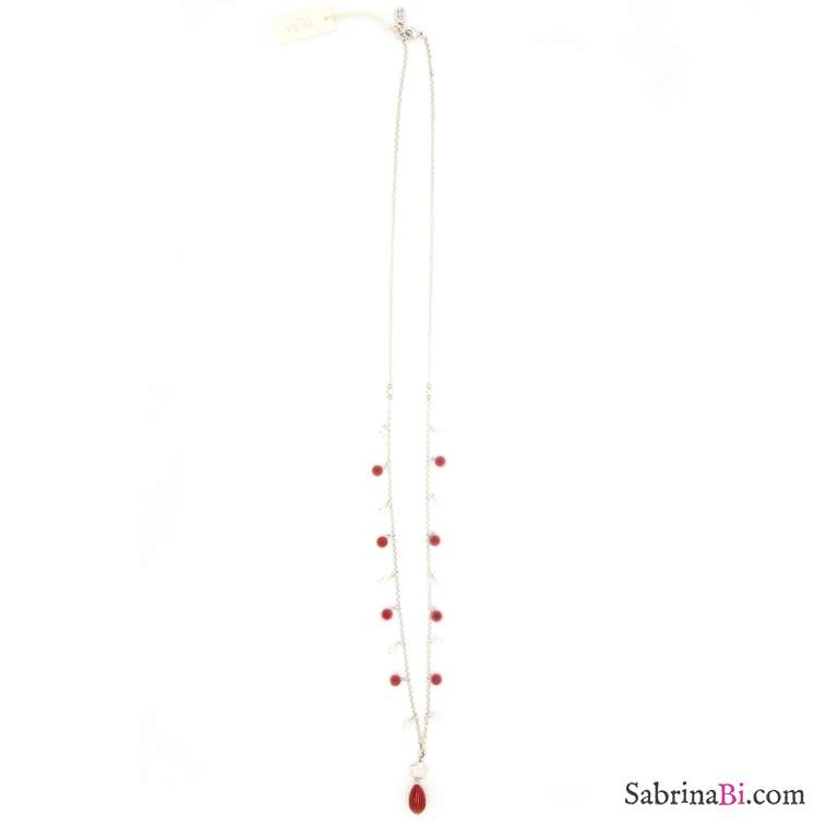 Collana lunga argentata perle bianche e rosse