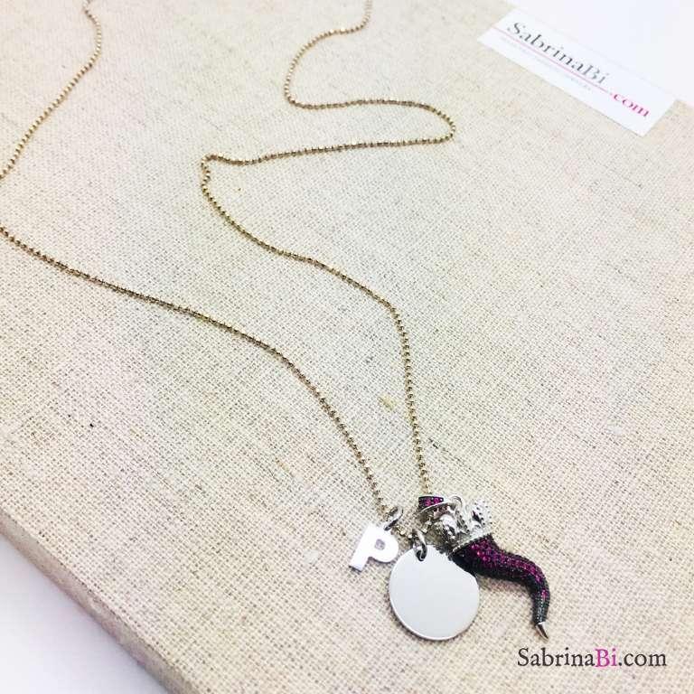 Collana lunga argento 925 cornetto Zirconi rossi e lettera iniziale nome