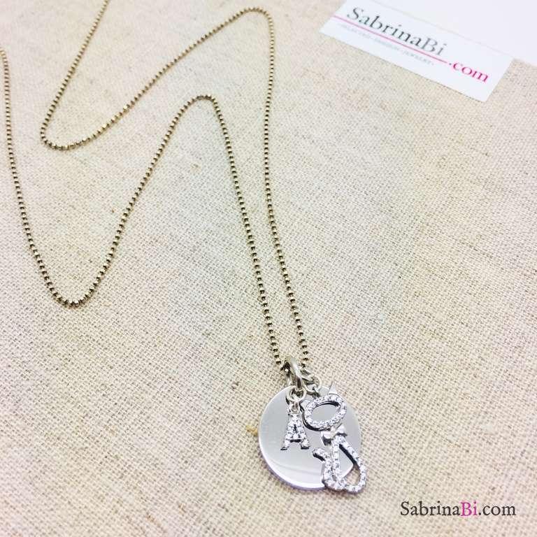 Collana lunga argento 925 Kitty e lettera iniziale nome