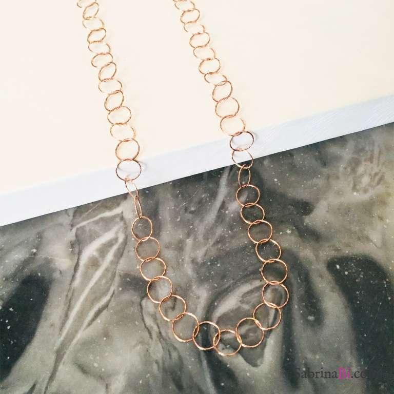 Collana lunga argento 925 oro rosa Alizee