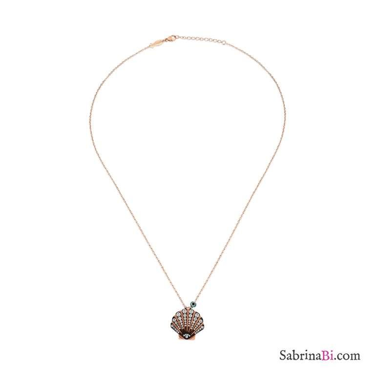 Collana lunga argento 925 oro rosa Conchiglia brillanti