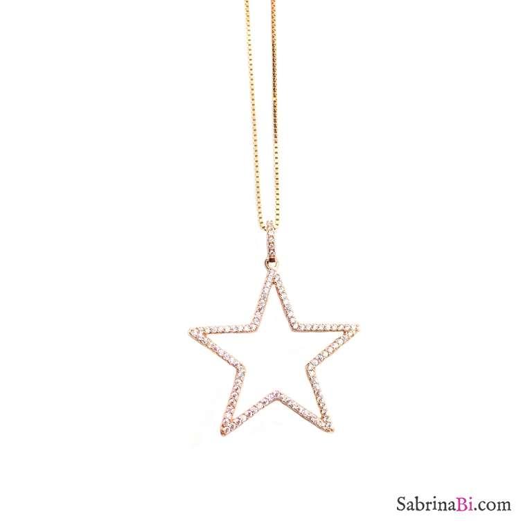 Collana lunga argento 925 oro rosa maxi Stella Zirconi