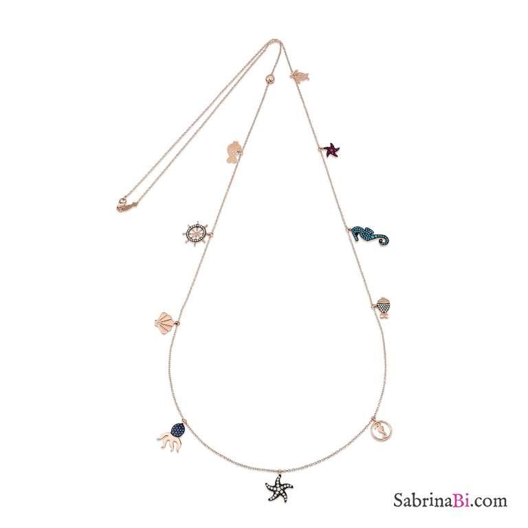Collana lunga argento 925 oro rosa Sea ciondoli charms brillanti