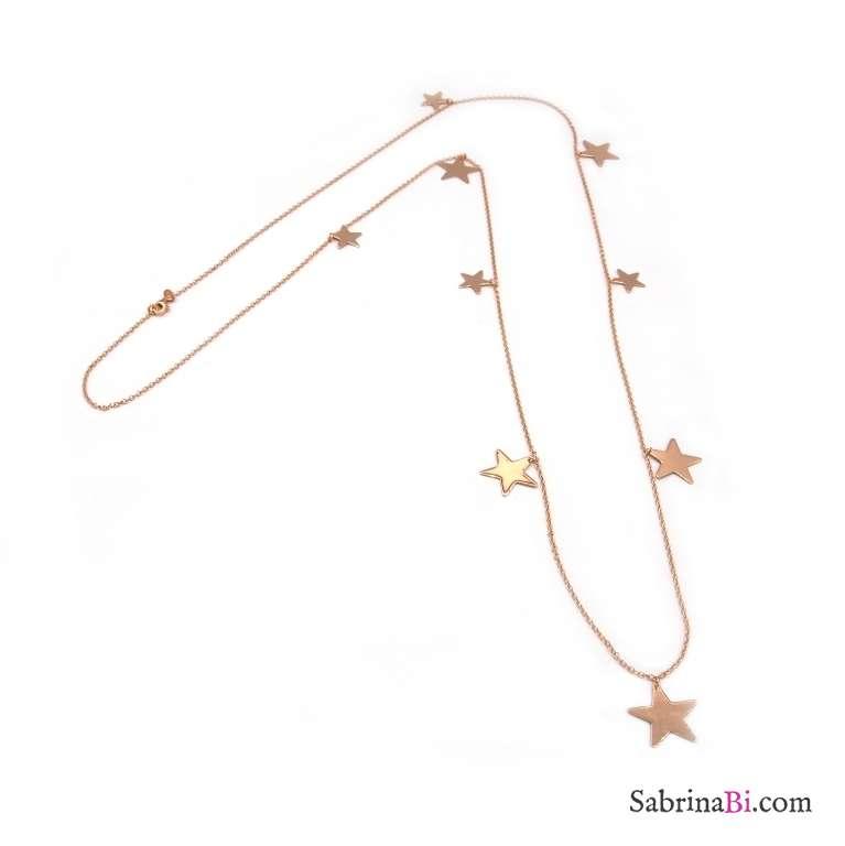 Collana lunga argento 925 oro rosa stelle grandi e piccole