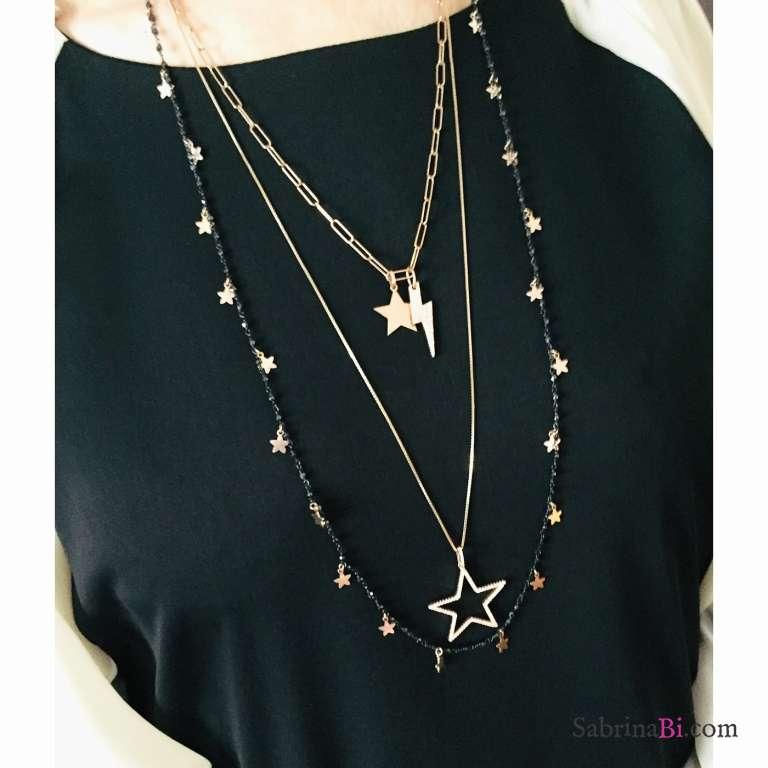 Collana lunga argento 925 rodiato nero rosario cristalli neri Stelle