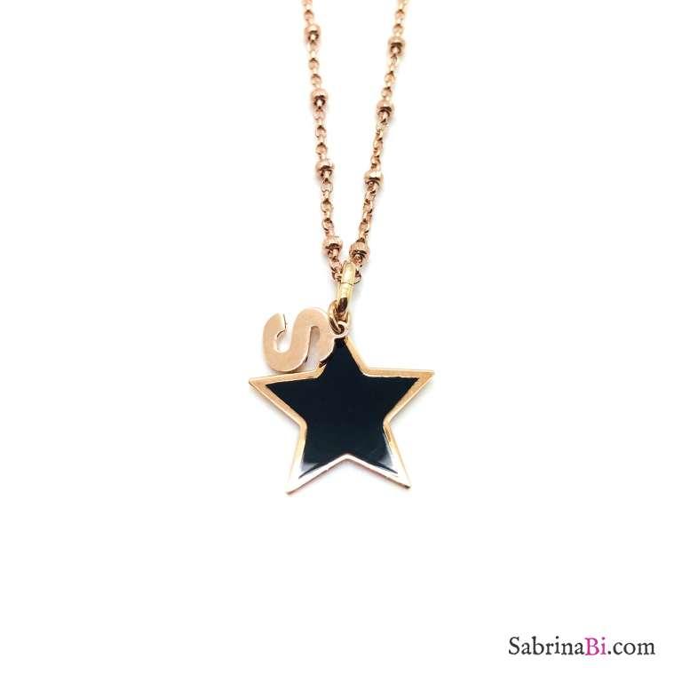 Collana lunga argento 925 rosario oro rosa lettera iniziale nome + stella nera