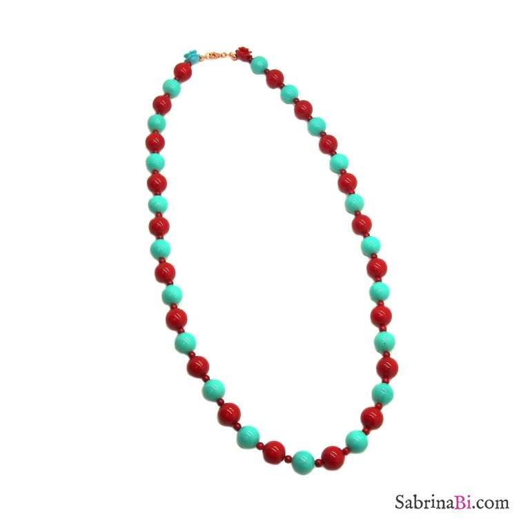 Red coral and turquoise maxi beads long necklace