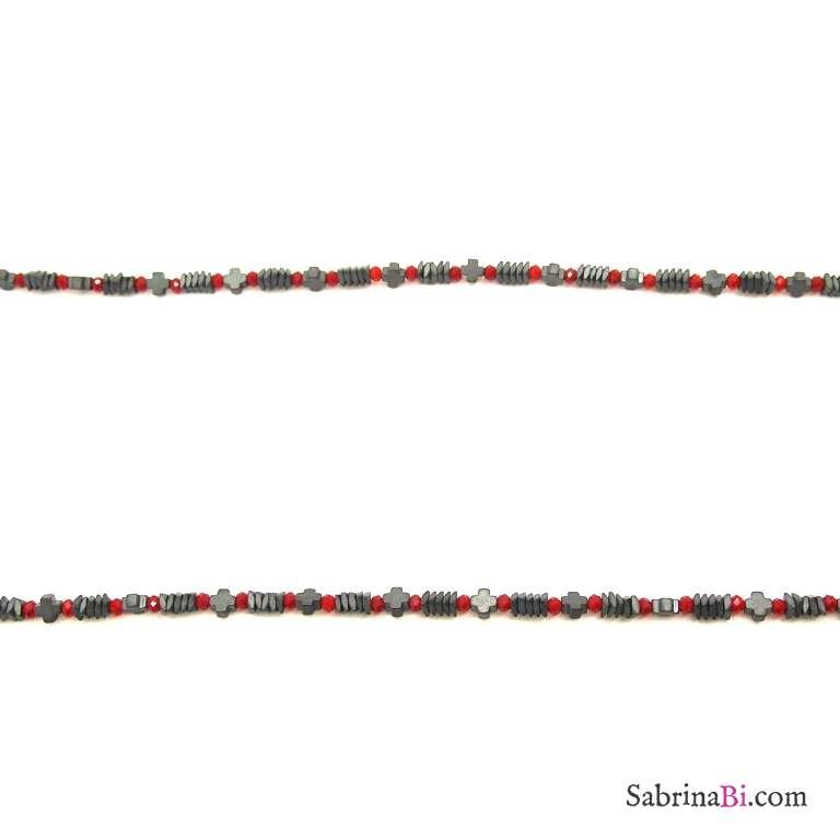 Collana lunga micro perline rosse e grigio antracite