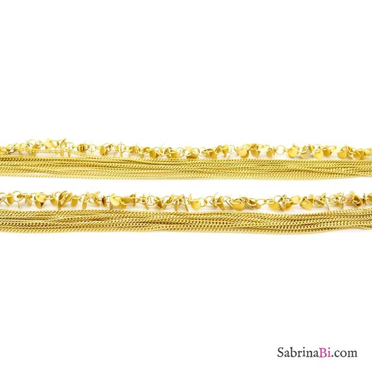 Collana lunga multifilo oro ciondoli charms Coins
