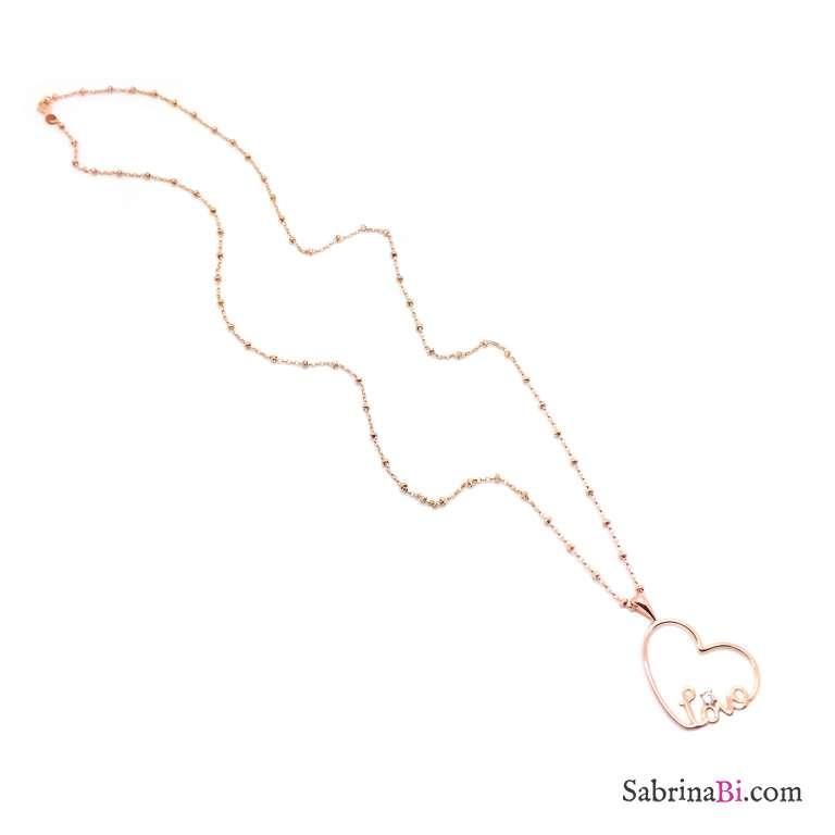 Collana lunga rosario argento 925 oro rosa ciondolo cuore Love