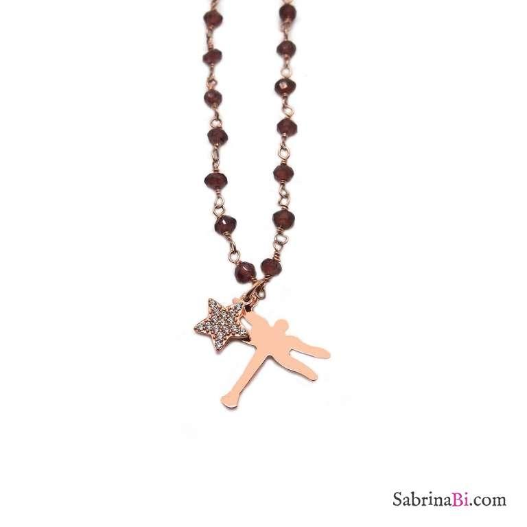 Collana lunga rosario argento 925 oro rosa Granato con libellula e stella Zirconi