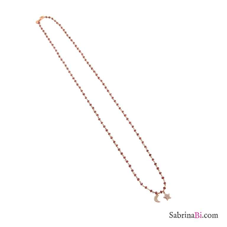Collana lunga rosario argento 925 oro rosa Granato con luna e stella Zirconi