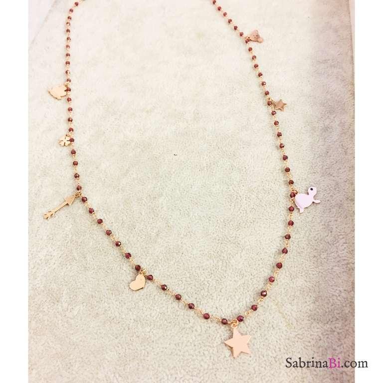 Collana lunga rosario argento 925 oro rosa Granato rosso multi charms