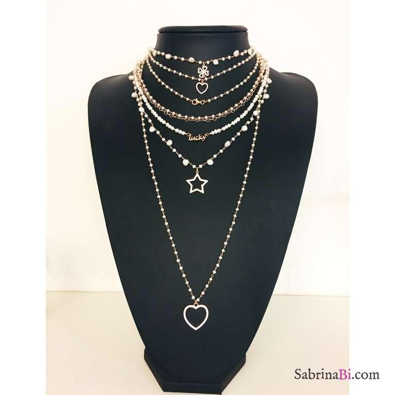 Collana lunga rosario argento 925 oro rosa Perle e cuore grande Zirconi