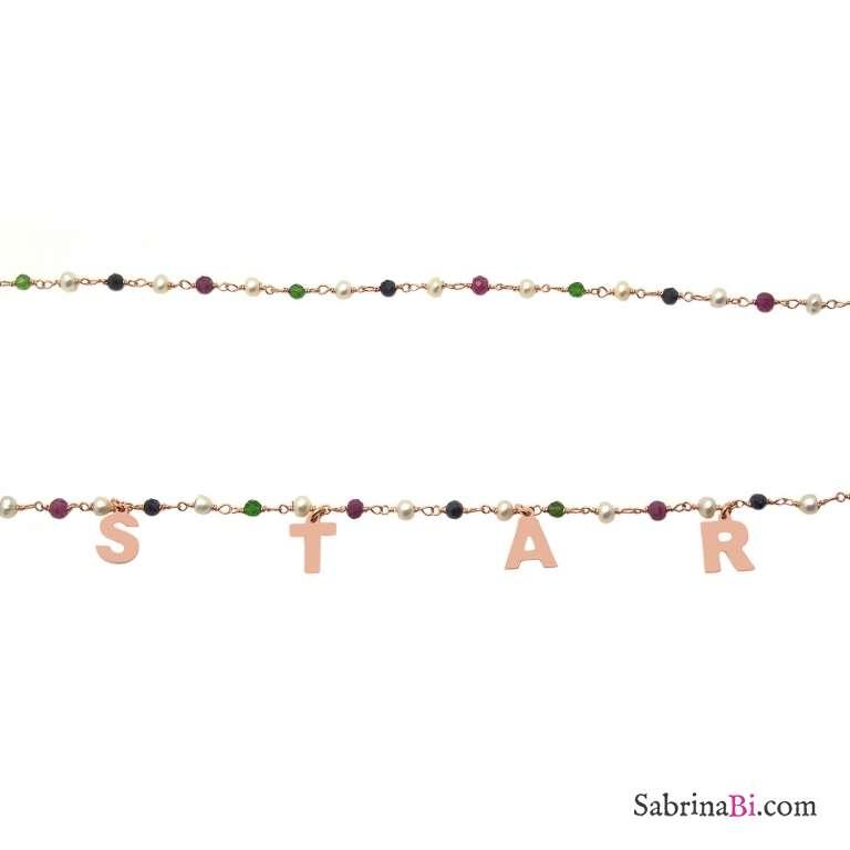 Collana lunga rosario argento 925 oro rosa perle, pietre dure multicolor STAR