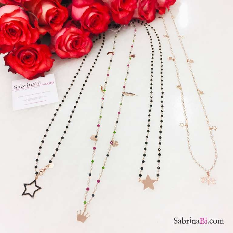 Collana lunga rosario argento 925 oro rosa Spinelli neri Stella