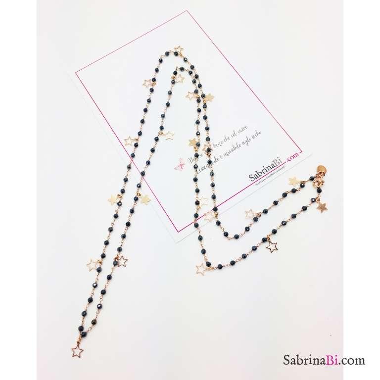 Collana lunga rosario argento 925 oro rosa Tanzanite blu scura Stelline vuote