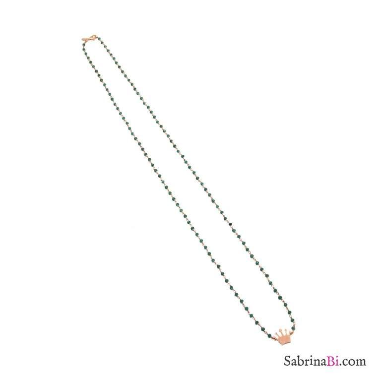 Collana lunga rosario verde argento 925 oro rosa e corona