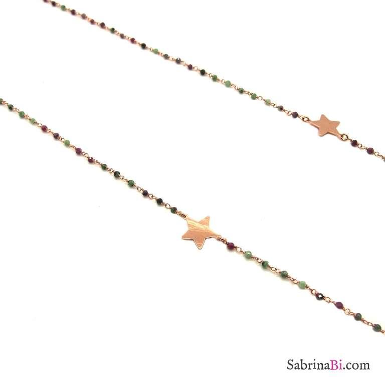 Collana lunghissima argento 925 oro rosa micro rosario pietre dure e stelle