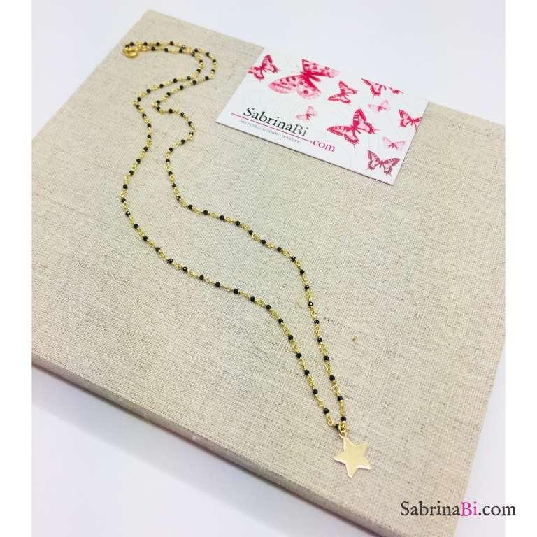 Collana media argento 925 oro giallo micro rosario Spinelli neri Stella