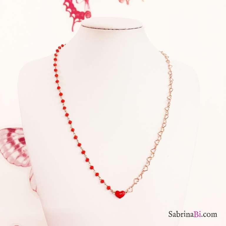 Collana media lunghezza argento 925 oro rosa con rosario rosso e cuore rosso