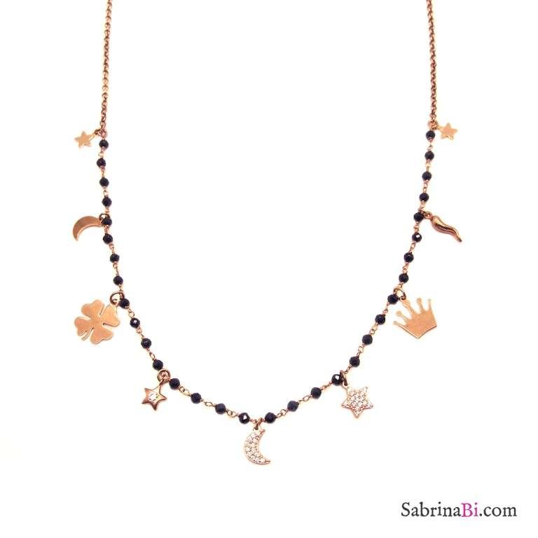 Collana media lunghezza doppia catena argento 925 oro rosa/rosario e charms