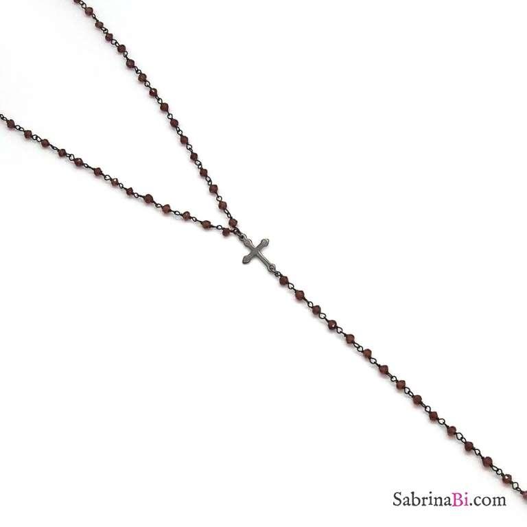 Collana medio-lunga argento 925 rodiato catena rosario Granato Holy Mary