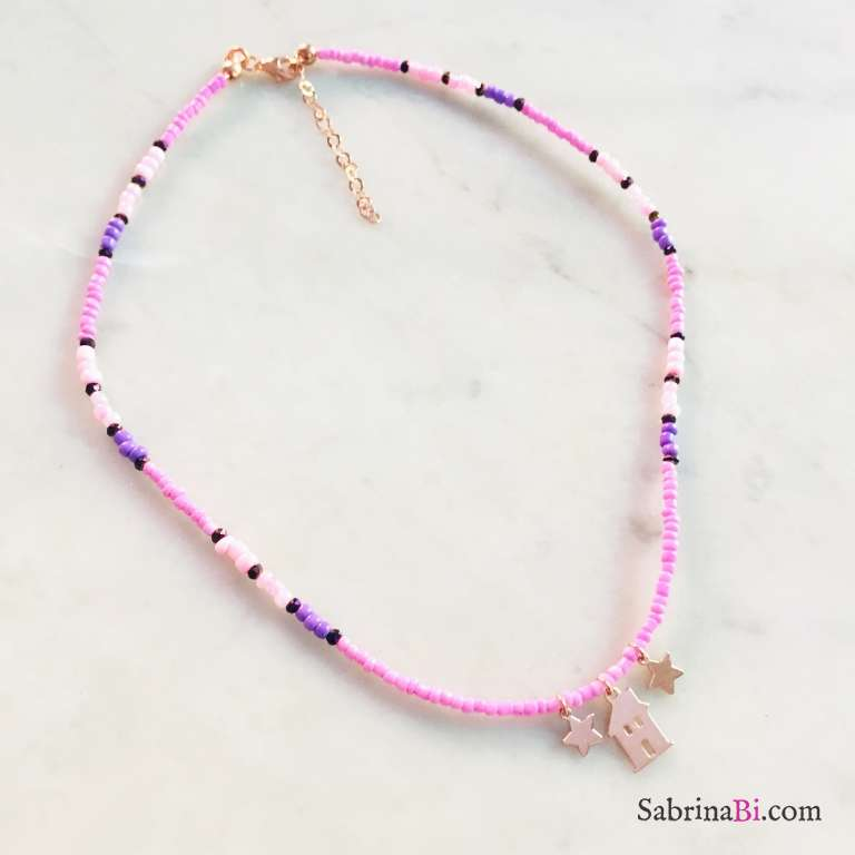 Collana micro perline vetro lilla Casetta