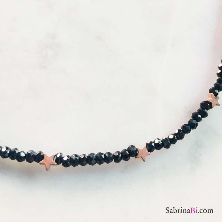Collana micro Spinelli neri e stelline Pirite oro rosa