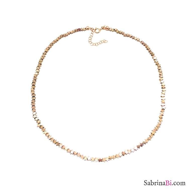 Collana micro stelle Pirite oro rosa