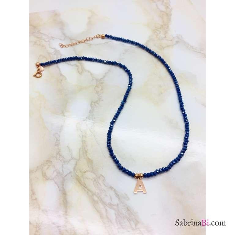 Collana perline Lapislazzuli blu e lettera iniziale nome