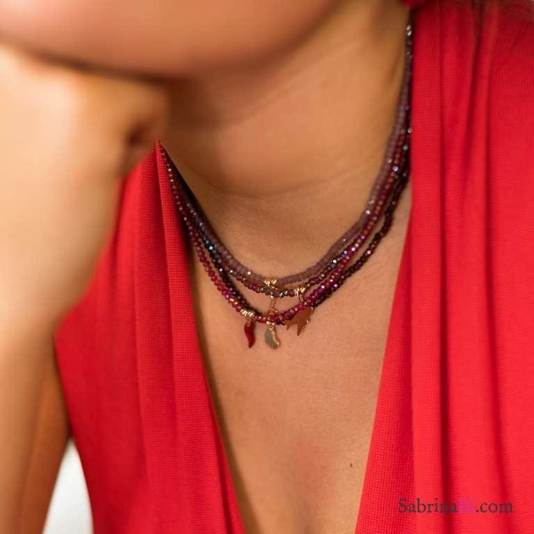 Collana perline Quarzo rosa e chiave