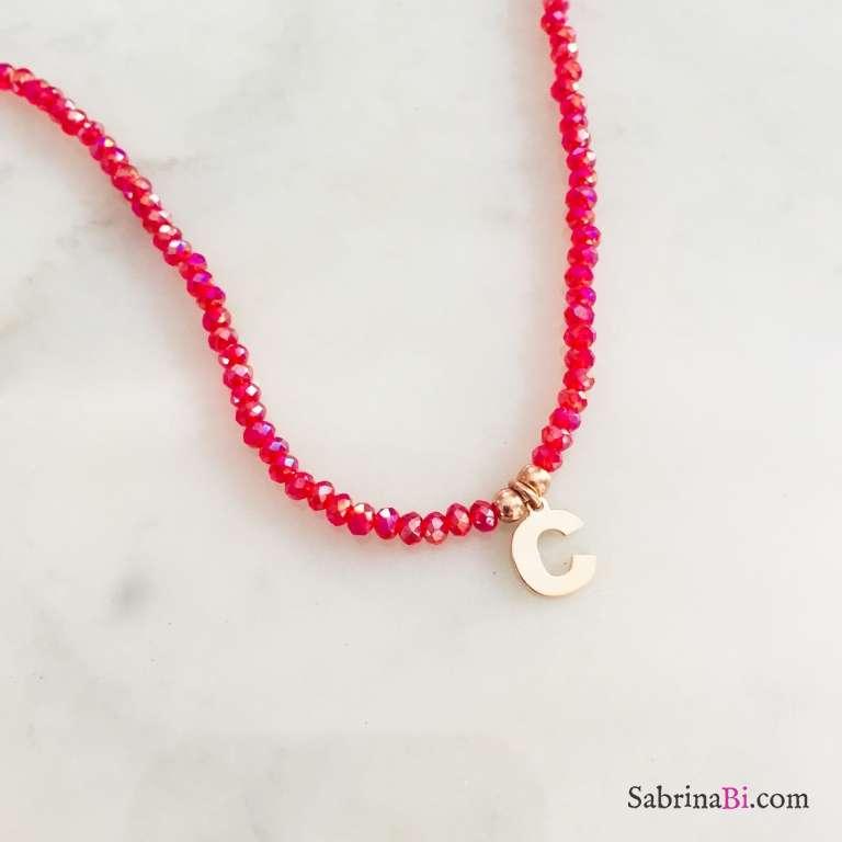 Collana perline radice di Rubino rosso e lettera iniziale nome