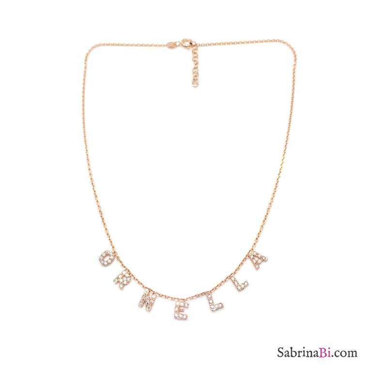 Collana personalizzata argento 925 oro rosa micro lettere Zirconi nome